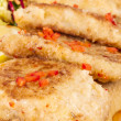 Fried fish fillets with salad. — Stock Photo