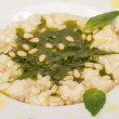 Photo of delicious risotto dish with herbs and cedar nut on whit — Stock Photo