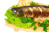 Roasted striped sea bass — Stock Photo