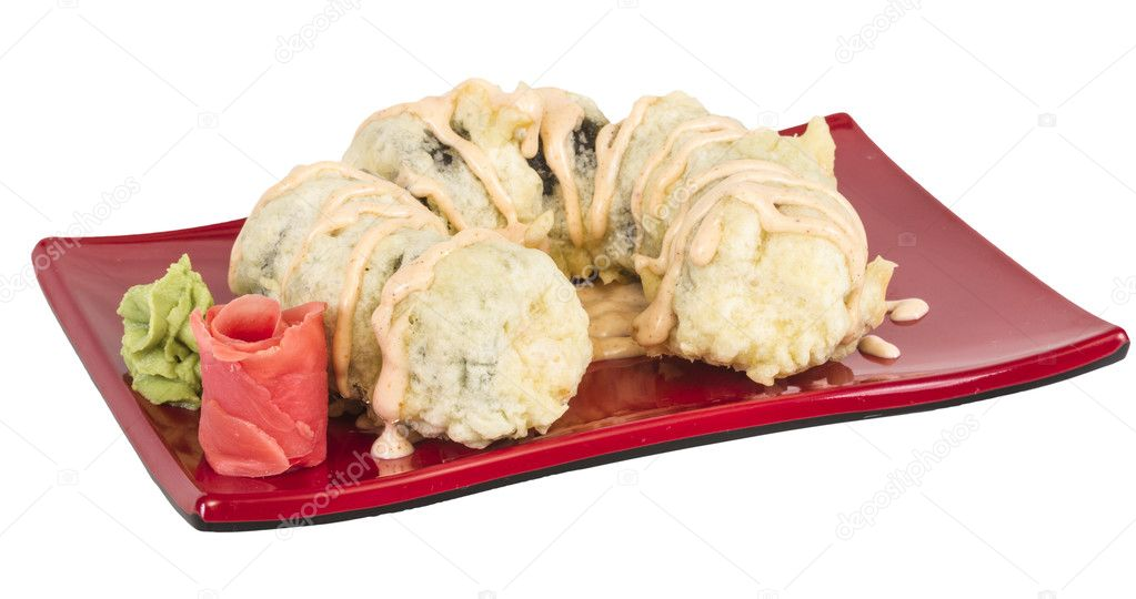 Japanese Cuisine -Tempura Maki Sushi (Deep Fried Roll made of salmon, tobiko roe and Cream Cheese inside) — Stock Photo #11620897