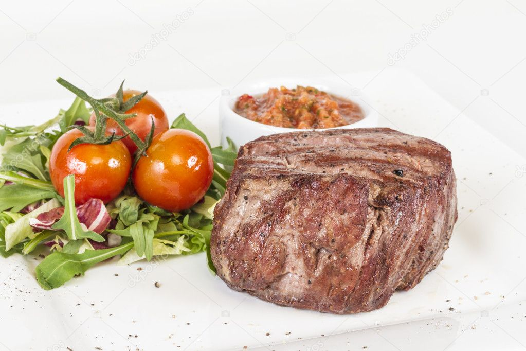 Grilled Beef Steak Isolated On a White Background — Stock Photo #11621224