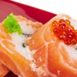 Japanese sushi traditional japanese food.Roll made of salmon, red cavair, roe and cream — Stock Photo