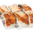 :Japanese traditional Cuisine - Maki Roll with Cucumber , Cream Cheese and Raw Salmon and Eel — Stock Photo