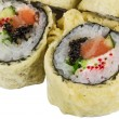 Japanese Cuisine -Tempura Maki Sushi (Deep Fried Roll made of salmon, tobiko roe and Cream Cheese inside) — Stock Photo
