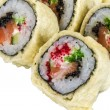 Japanese Cuisine -Tempura Maki Sushi (Deep Fried Roll made of salmon, tobiko roe and Cream Cheese inside) — Stock Photo #11956898