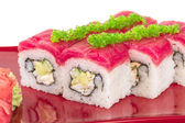 Maki Sushi - Roll made of Crab, avocado, cucumber inside. Fresh — Stock Photo