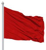 červený prázdné vlajka s stožár — Stock fotografie