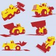 Stock Vector: Vector heavy utility trucks