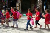 Little arabic girls going to school — Stock Photo
