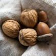 Still-life of three acorns and walnuts — Stockfoto