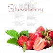 Strawberry berry with green leaf and flower — Stock Photo #10941360
