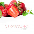Strawberry berry with green leaf and flower — Stock Photo #11010227