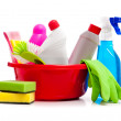 Box of cleaning supplies — Stock Photo
