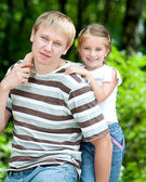Dívka s otcem — Stock fotografie