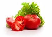 Vegetal tomate rojo con corte — Foto de Stock