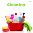 Box of cleaning supplies — Stock Photo #11448074