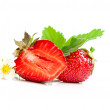 Strawberry berry with green leaf and flower — Stock Photo #11539950