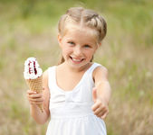 Little girl with ice-cream — Stok fotoğraf