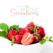 Strawberry berry with green leaf and flower — Stock Photo #11799830