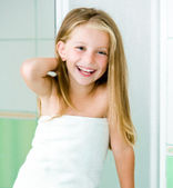 Cute little girl washing — Stock Photo