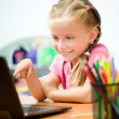 Girl with in the laptop — Stock Photo