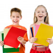 Royalty-Free Stock Photo: Small kids with the colored paper