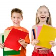 Small kids with the colored paper — Stock Photo