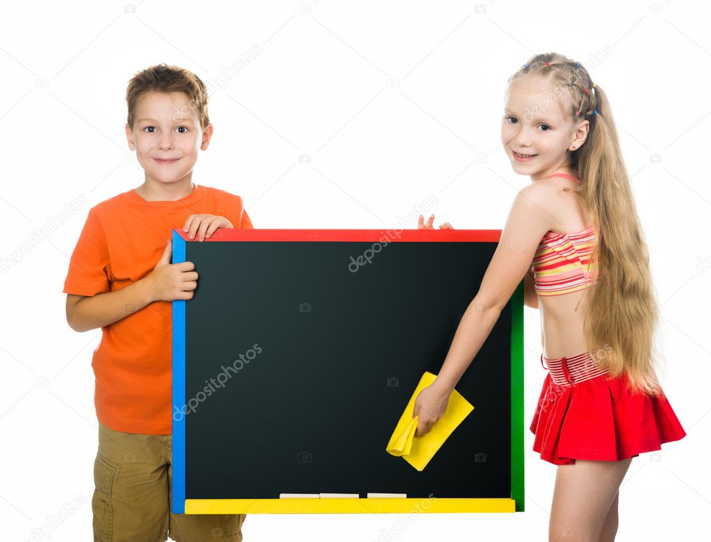 Cute kids with a board. stodio shot — Stock Photo #12177474