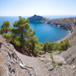 Summer view seacoast. Sudak beach. Black Sea, Ukraine - Stock Photo