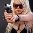 Beautiful sexy girl with gun — Stock Photo
