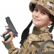 Young soldier with gun — Stock Photo
