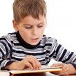 Stock Photo: Cute schoolboy is reading a book