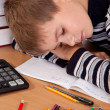 Tired schoolboy — Stock Photo