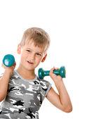 Boy with dumbbells — Stock fotografie