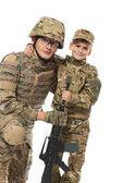 Военные отец и сын — Стоковое фото