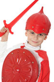 Young Boy Dressed Like a knight — Stock Photo