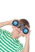 Boy holding binoculars — Stock Photo