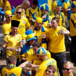 KYIV, UKRAINE - JUNE 15: Sweden and Ukrainian fans arrive in the - Stock Photo