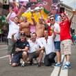 KYIV, UKRAINE - JUNE 15: England fans arrive in the fanzone befo - Stock Photo