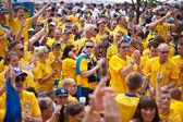KYIV, UKRAINE - JUNE 15: Sweden and Ukrainian fans arrive in the — Stock Photo