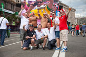 KYIV, UKRAINE - JUNE 15: England fans arrive in the fanzone befo — Stock Photo