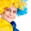 Football fan with  ukrainian flag on a white background - Stockfoto