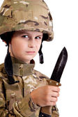 Young soldier with knife — Stockfoto