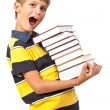 School boy is holding books - Stock Photo