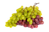 Bunch of White and Red Grapes laying isolated — Stock Photo