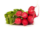 A bunch of fresh radishes isolated on white — Stock Photo