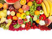 Gruppo enorme di frutta e verdura fresca — Foto Stock
