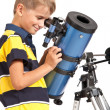 Child Looking Into Telescope on white — Стоковая фотография