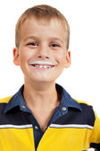 Young boy has moustache of milk on his lips — Stock Photo
