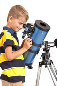 Child Looking Into Telescope on white — Stock Photo